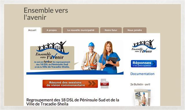 Site Web Design Réactif pour projet de regroupement des 18 DSL de Péninsule-Sud
